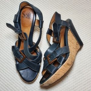 SOFFT Leather and Cork Wedge Sandals